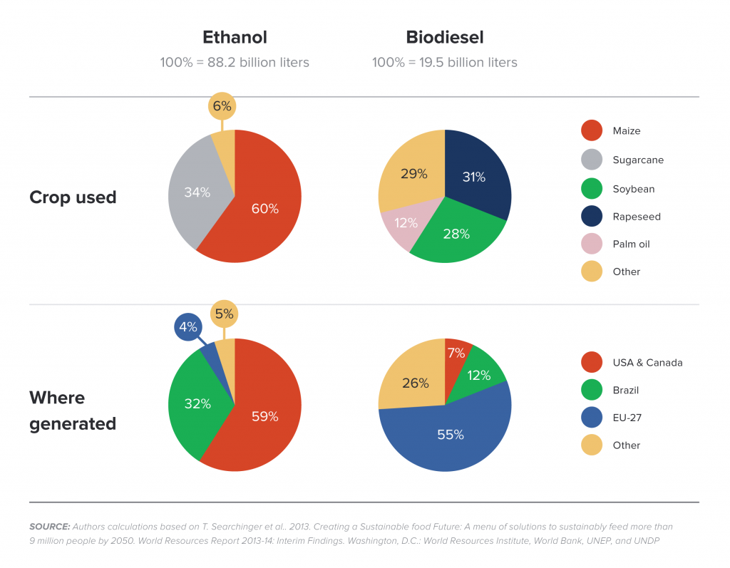 Shares of feedstocks and places in global liquid biofuels production (2010)
