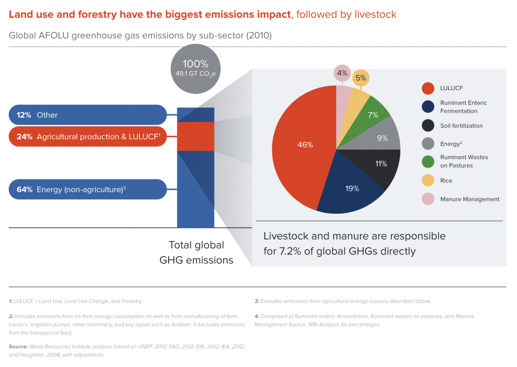 Global AFOLU greenhouse gas emissions by sub-sector (2010)